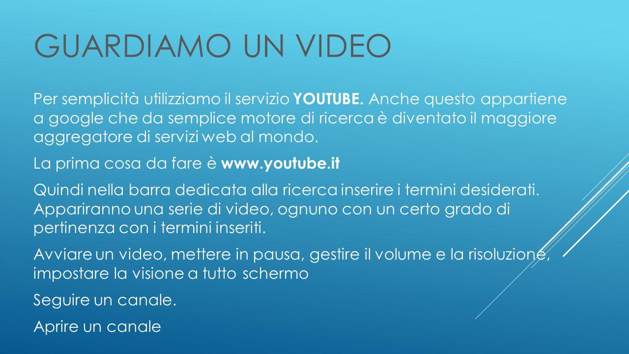 GUARDIAMO UN VIDEO Per semplicità utilizziamo il servizio YOUTUBE.