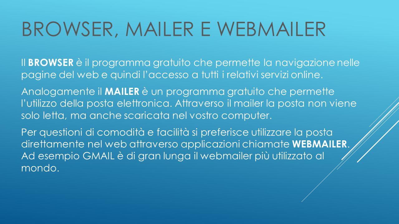 BROWSER, MAILER E WEBMAILER Il BROWSER è il programma gratuito che permette la navigazione nelle pagine del web e quindi l'accesso a tutti i relativi servizi online.