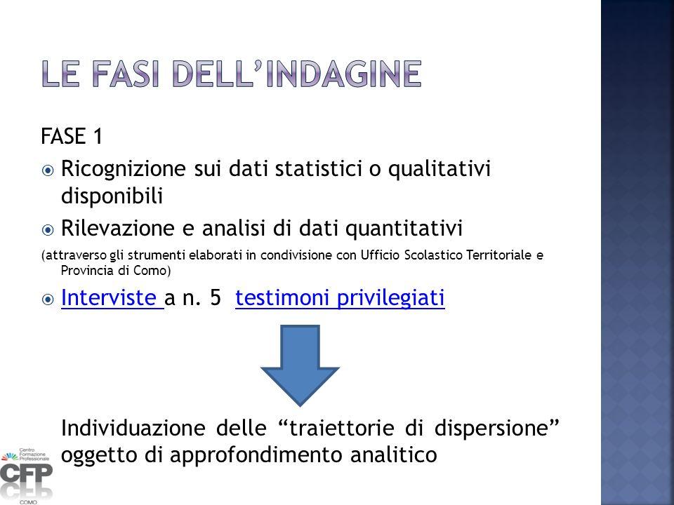 FASE 1  Ricognizione sui dati statistici o qualitativi disponibili  Rilevazione e analisi di dati quantitativi (attraverso gli strumenti elaborati i