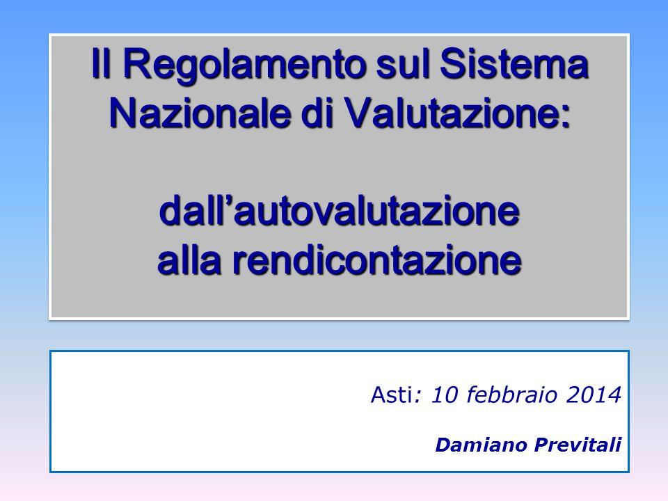 Il Regolamento sul Sistema Nazionale di Valutazione: dall'autovalutazione alla rendicontazione Asti: 10 febbraio 2014 Damiano Previtali