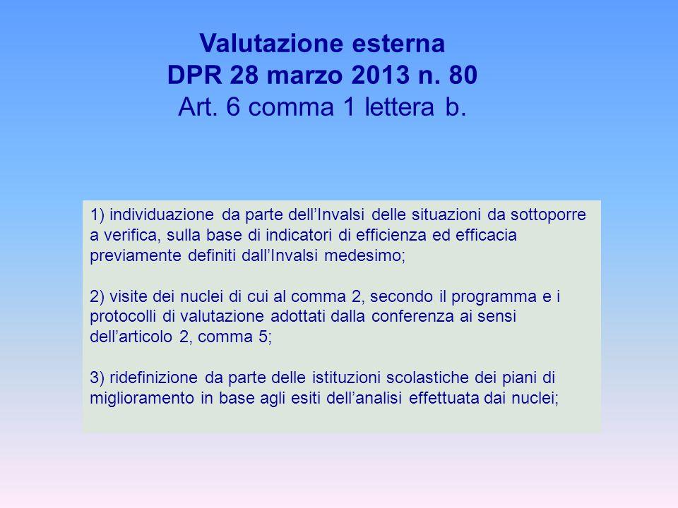 1) individuazione da parte dell'Invalsi delle situazioni da sottoporre a verifica, sulla base di indicatori di efficienza ed efficacia previamente definiti dall'Invalsi medesimo; 2) visite dei nuclei di cui al comma 2, secondo il programma e i protocolli di valutazione adottati dalla conferenza ai sensi dell'articolo 2, comma 5; 3) ridefinizione da parte delle istituzioni scolastiche dei piani di miglioramento in base agli esiti dell'analisi effettuata dai nuclei; Valutazione esterna DPR 28 marzo 2013 n.