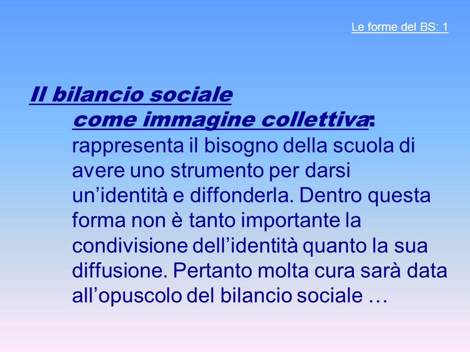 Il bilancio sociale come immagine collettiva: rappresenta il bisogno della scuola di avere uno strumento per darsi un'identità e diffonderla. Dentro q