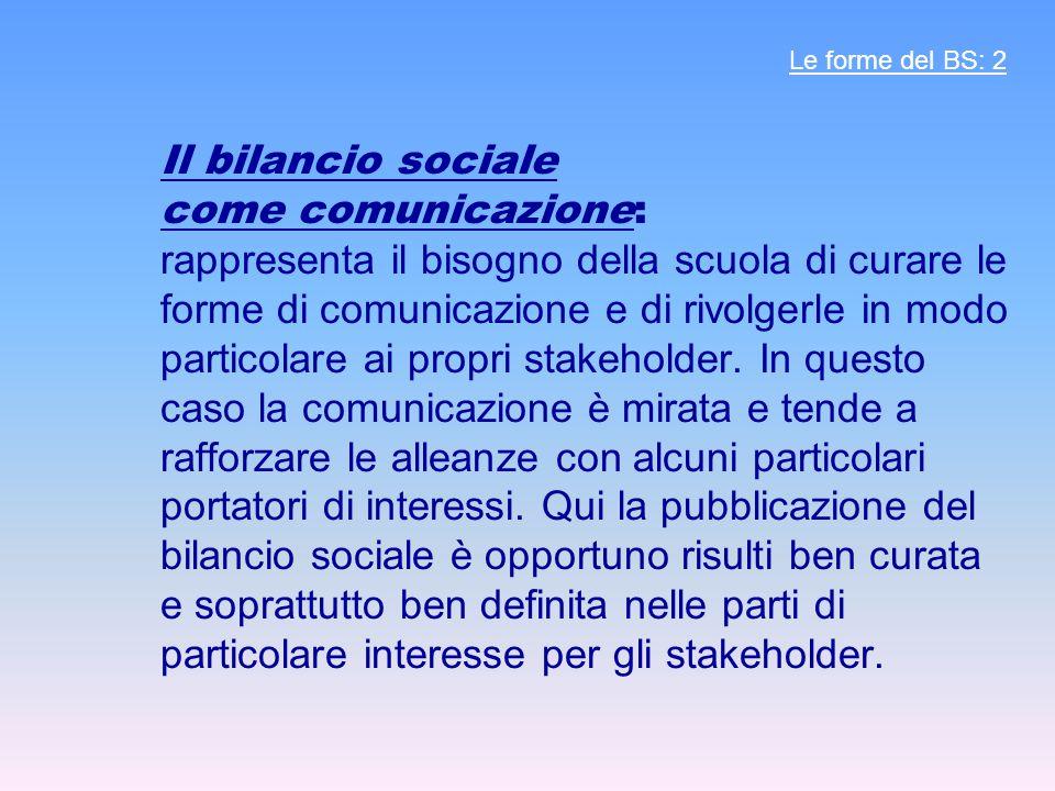 Il bilancio sociale come comunicazione: rappresenta il bisogno della scuola di curare le forme di comunicazione e di rivolgerle in modo particolare ai propri stakeholder.