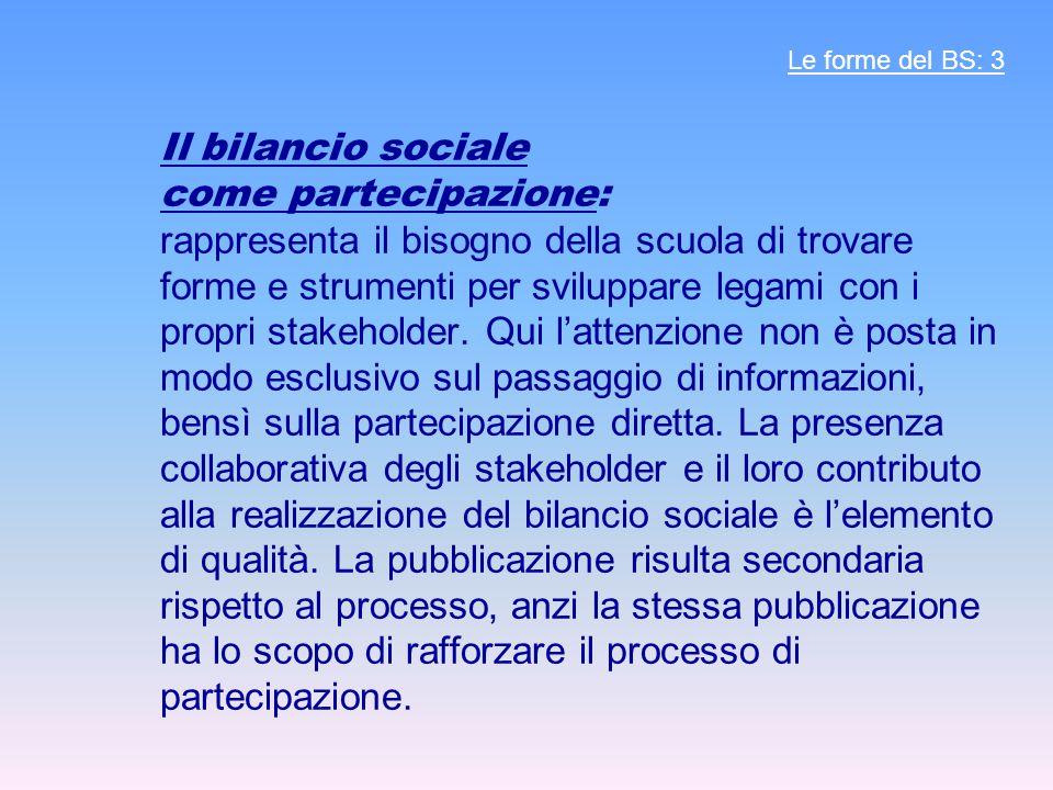 Il bilancio sociale come partecipazione: rappresenta il bisogno della scuola di trovare forme e strumenti per sviluppare legami con i propri stakeholder.
