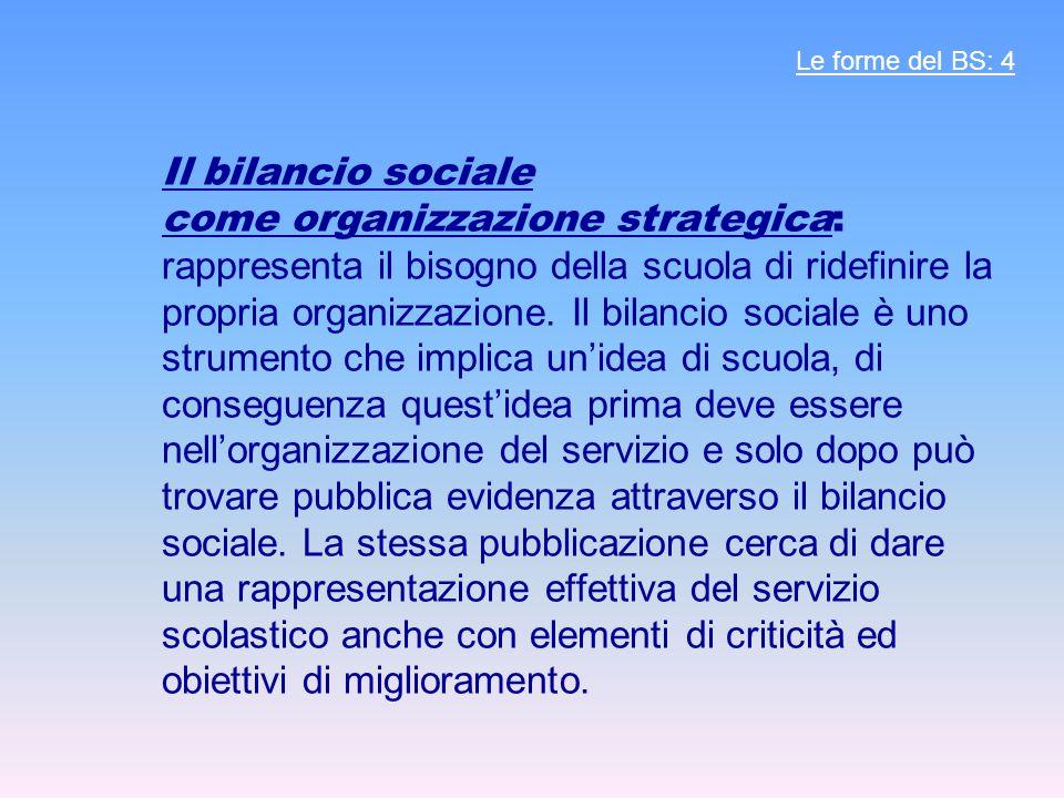Il bilancio sociale come organizzazione strategica: rappresenta il bisogno della scuola di ridefinire la propria organizzazione. Il bilancio sociale è