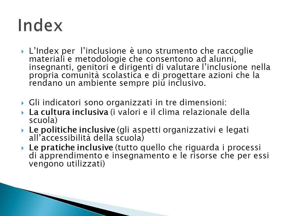  L'Index per l'inclusione è uno strumento che raccoglie materiali e metodologie che consentono ad alunni, insegnanti, genitori e dirigenti di valutar