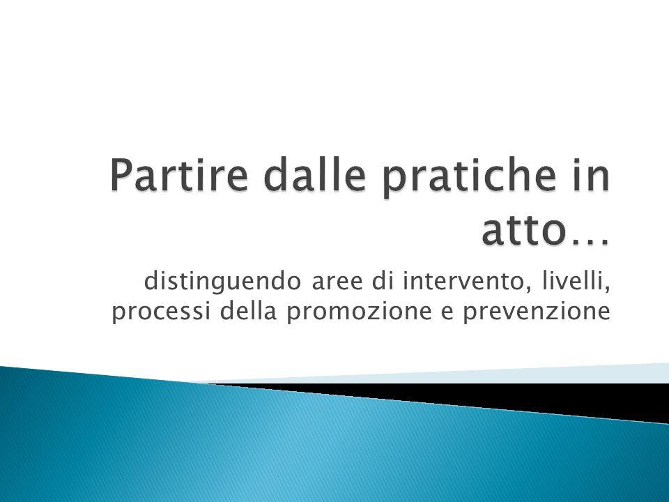distinguendo aree di intervento, livelli, processi della promozione e prevenzione
