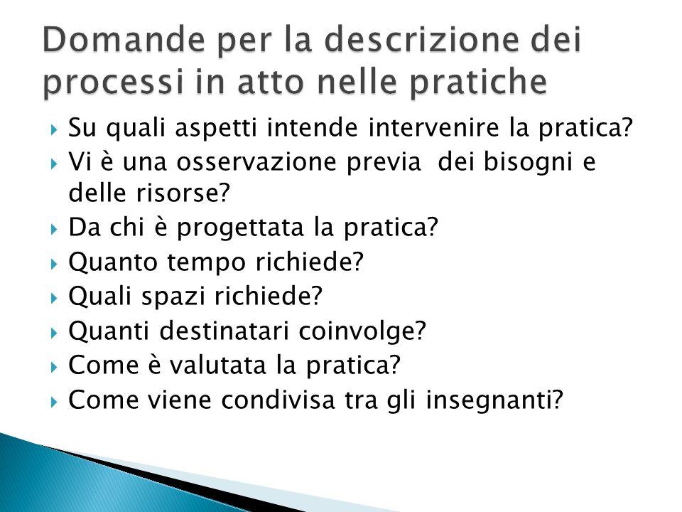 Su quali aspetti intende intervenire la pratica?  Vi è una osservazione previa dei bisogni e delle risorse?  Da chi è progettata la pratica?  Qua