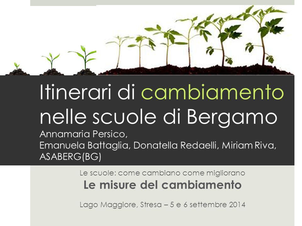 Itinerari di cambiamento nelle scuole di Bergamo Annamaria Persico, Emanuela Battaglia, Donatella Redaelli, Miriam Riva, ASABERG(BG) Le scuole: come c