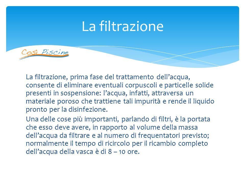 La filtrazione, prima fase del trattamento dell'acqua, consente di eliminare eventuali corpuscoli e particelle solide presenti in sospensione: l'acqua