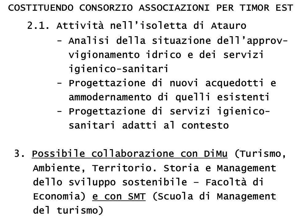 COSTITUENDO CONSORZIO ASSOCIAZIONI PER TIMOR EST 2.1.