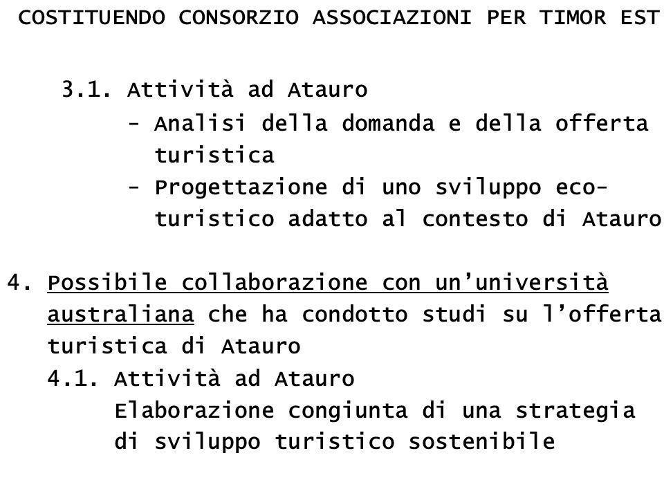 COSTITUENDO CONSORZIO ASSOCIAZIONI PER TIMOR EST 3.1.