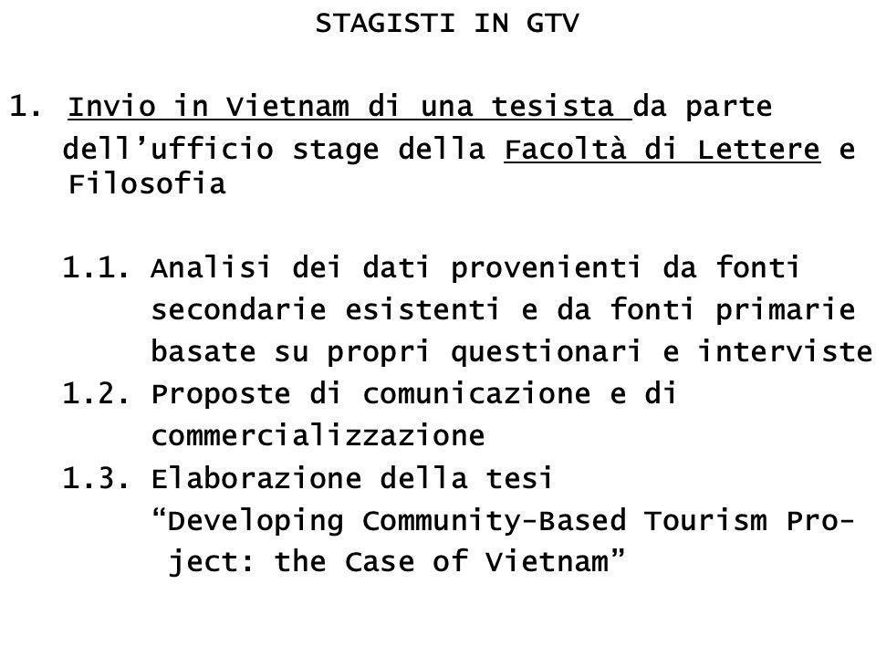 STAGISTI IN GTV 1.Invio in Vietnam di una tesista da parte dell'ufficio stage della Facoltà di Lettere e Filosofia 1.1.