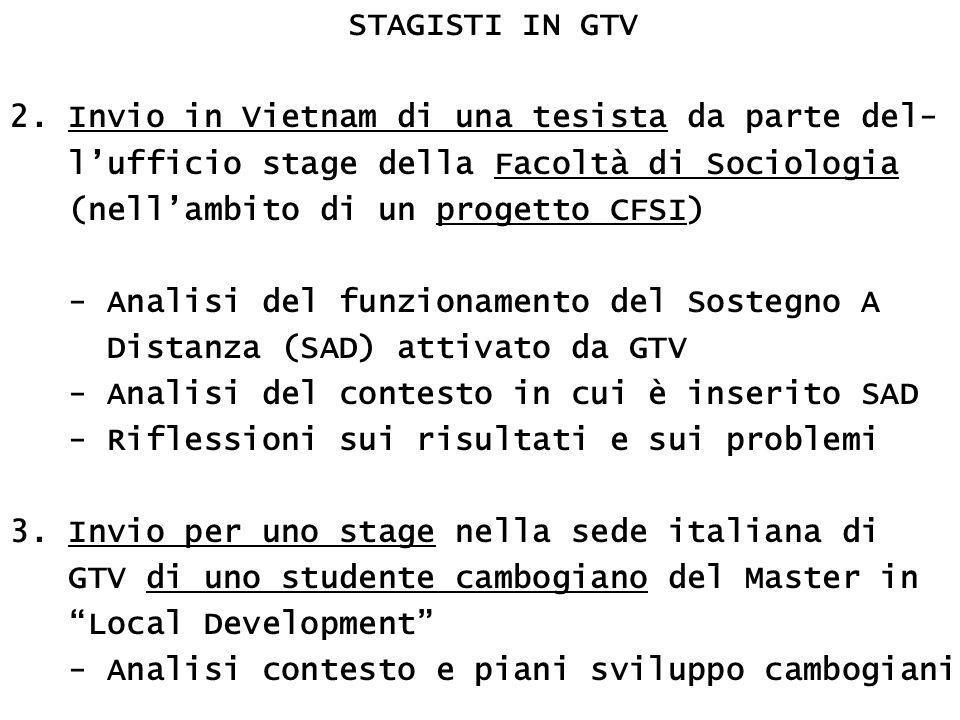 STAGISTI IN GTV 2. Invio in Vietnam di una tesista da parte del- l'ufficio stage della Facoltà di Sociologia (nell'ambito di un progetto CFSI) - Anali
