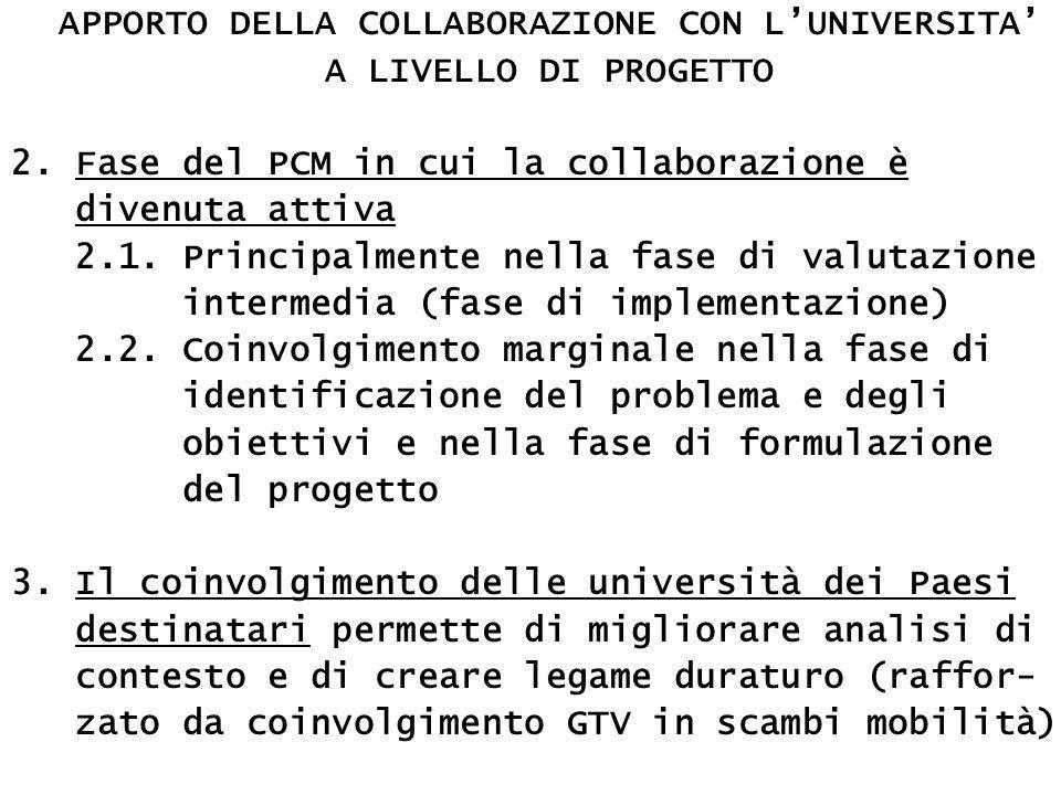APPORTO DELLA COLLABORAZIONE CON L'UNIVERSITA' A LIVELLO DI PROGETTO 2.