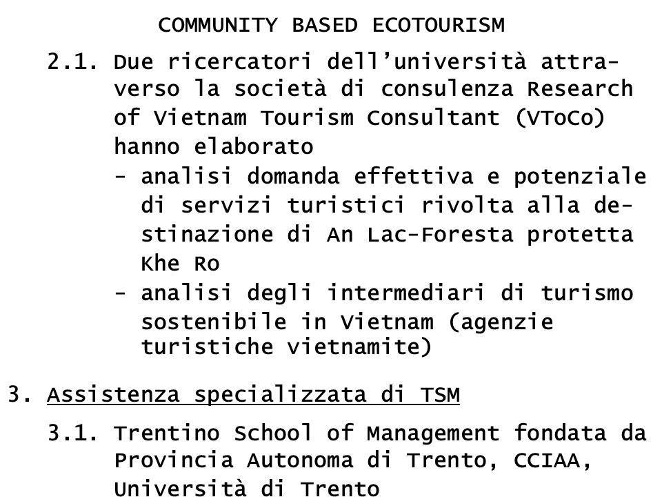 COMMUNITY BASED ECOTOURISM 2.1. Due ricercatori dell'università attra- verso la società di consulenza Research of Vietnam Tourism Consultant (VToCo) h