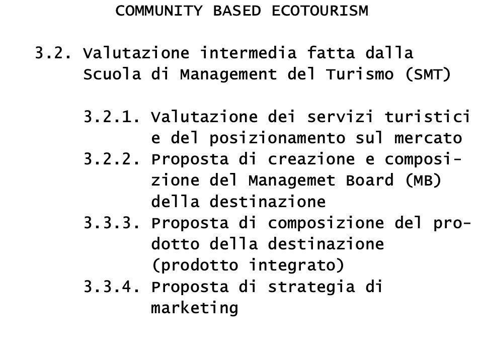 COMMUNITY BASED ECOTOURISM 3.2. Valutazione intermedia fatta dalla Scuola di Management del Turismo (SMT) 3.2.1. Valutazione dei servizi turistici e d