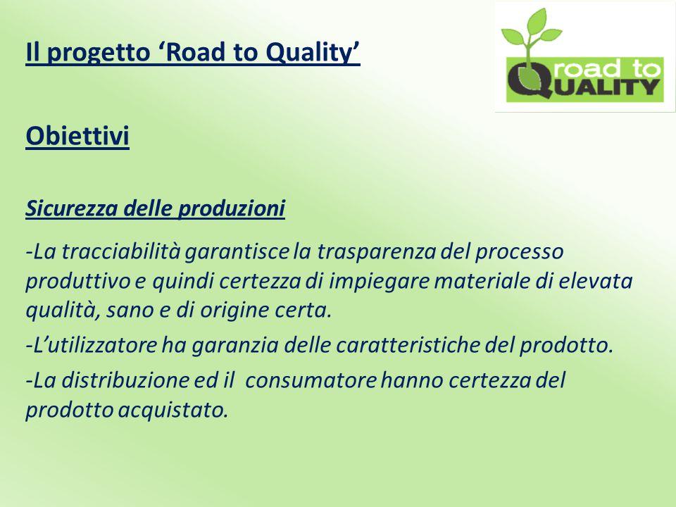 Il progetto 'Road to Quality' Obiettivi Sicurezza delle produzioni -La tracciabilità garantisce la trasparenza del processo produttivo e quindi certezza di impiegare materiale di elevata qualità, sano e di origine certa.