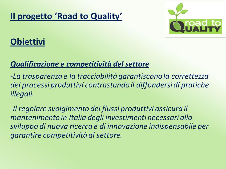 Il progetto 'Road to Quality' Obiettivi Qualificazione e competitività del settore -La trasparenza e la tracciabilità garantiscono la correttezza dei processi produttivi contrastando il diffondersi di pratiche illegali.