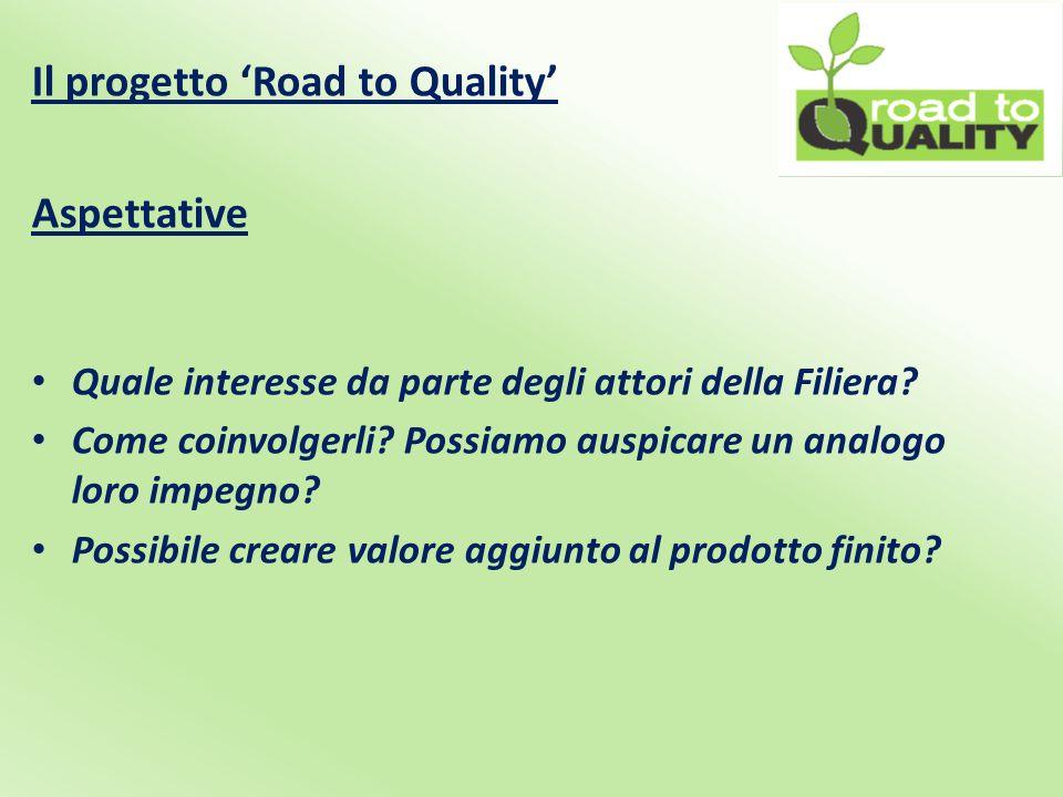 Il progetto 'Road to Quality' Aspettative Quale interesse da parte degli attori della Filiera.