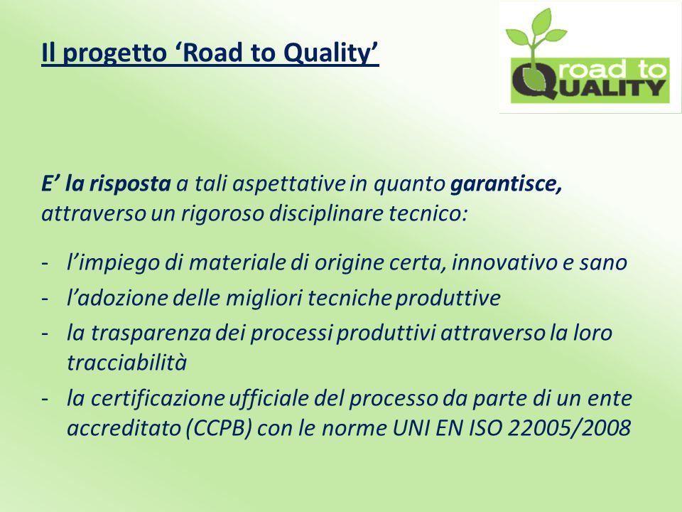 Il progetto 'Road to Quality' E' la risposta a tali aspettative in quanto garantisce, attraverso un rigoroso disciplinare tecnico: -l'impiego di materiale di origine certa, innovativo e sano -l'adozione delle migliori tecniche produttive -la trasparenza dei processi produttivi attraverso la loro tracciabilità -la certificazione ufficiale del processo da parte di un ente accreditato (CCPB) con le norme UNI EN ISO 22005/2008
