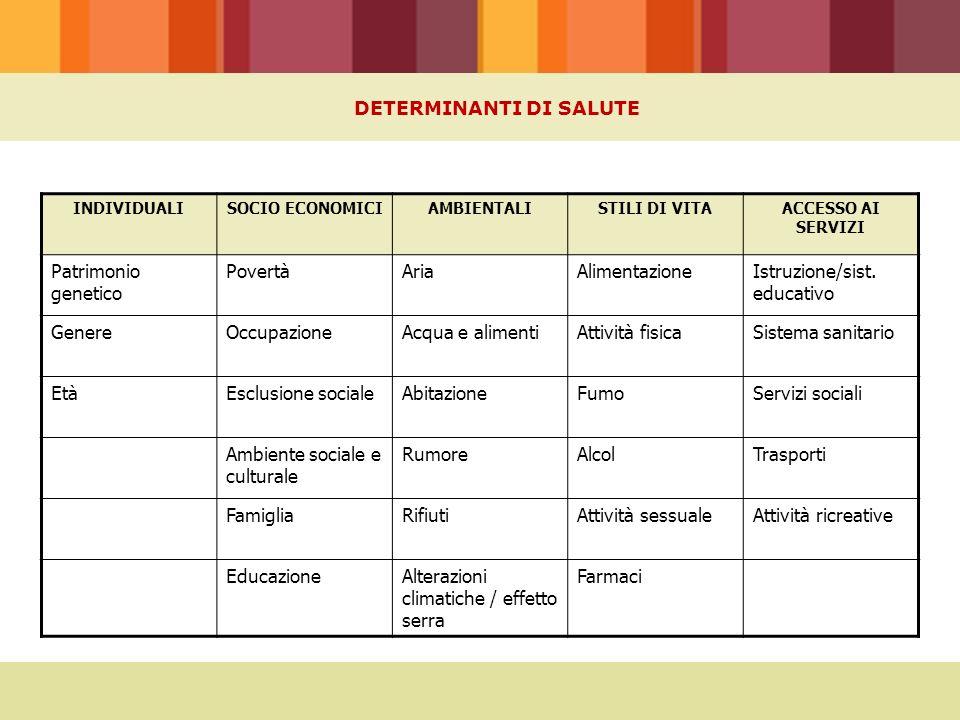 INDIVIDUALISOCIO ECONOMICIAMBIENTALISTILI DI VITAACCESSO AI SERVIZI Patrimonio genetico PovertàAriaAlimentazioneIstruzione/sist.