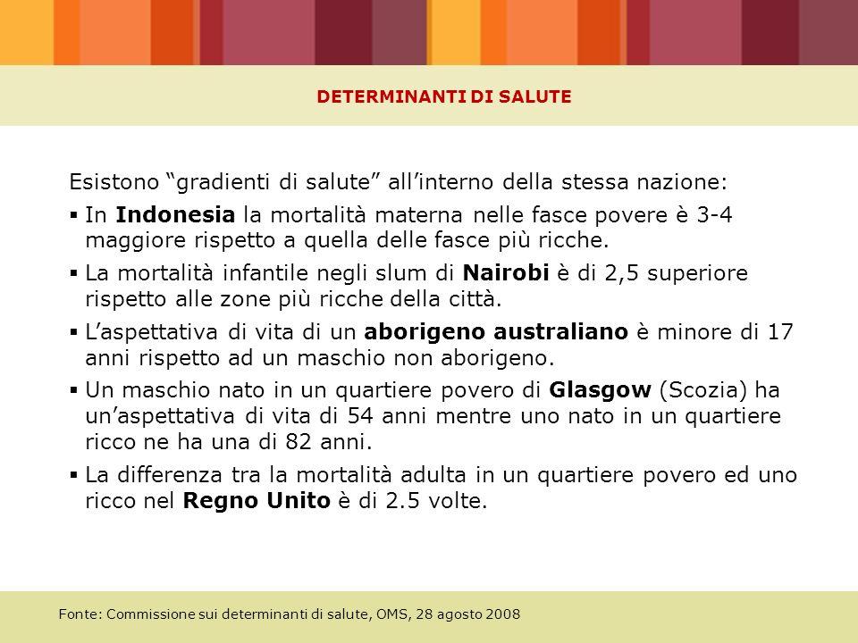 Fonte: Commissione sui determinanti di salute, OMS, 28 agosto 2008 Esistono gradienti di salute all'interno della stessa nazione:  In Indonesia la mortalità materna nelle fasce povere è 3-4 maggiore rispetto a quella delle fasce più ricche.