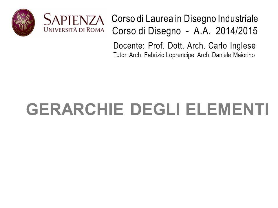 Corso di Laurea in Disegno Industriale Corso di Disegno - A.A. 2014/2015 GERARCHIE DEGLI ELEMENTI Docente: Prof. Dott. Arch. Carlo Inglese Tutor: Arch