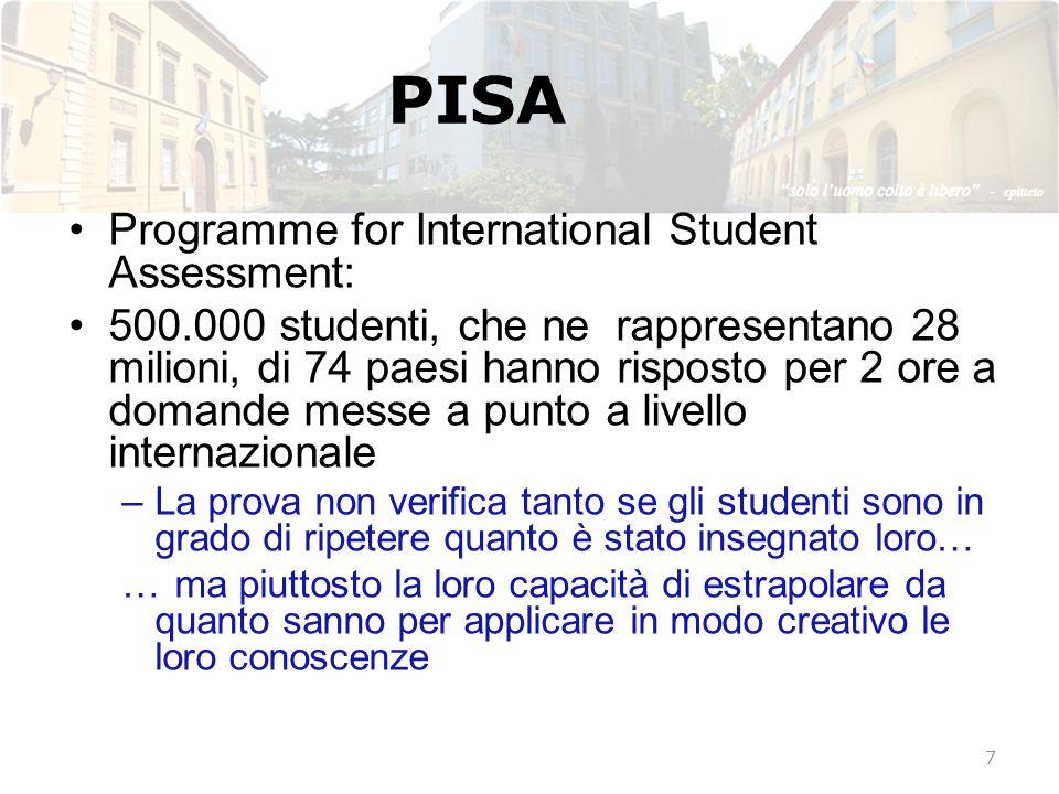 PISA Programme for International Student Assessment: 500.000 studenti, che ne rappresentano 28 milioni, di 74 paesi hanno risposto per 2 ore a domande