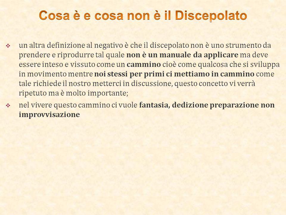  un altra definizione al negativo è che il discepolato non è uno strumento da prendere e riprodurre tal quale non è un manuale da applicare ma deve e