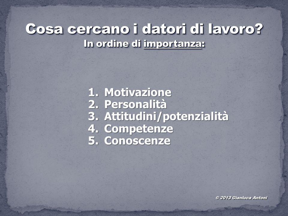 1.Motivazione 2.Personalità 3.Attitudini/potenzialità 4.Competenze 5.Conoscenze