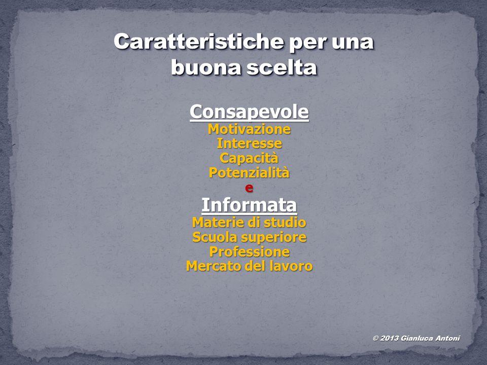 © 2013 Gianluca Antoni ConsapevoleMotivazioneInteresseCapacitàPotenzialitàeInformata Materie di studio Scuola superiore Professione Mercato del lavoro