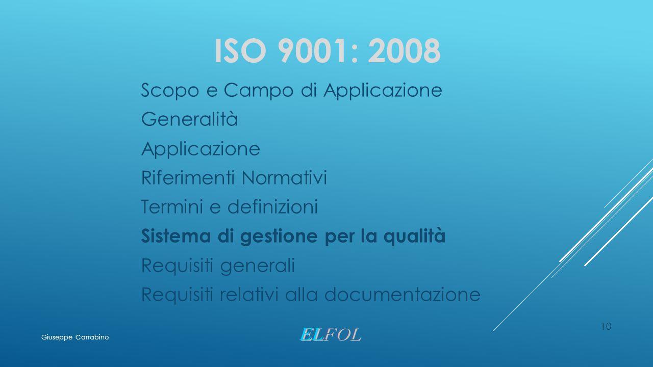 10 ISO 9001: 2008 Scopo e Campo di Applicazione Generalità Applicazione Riferimenti Normativi Termini e definizioni Sistema di gestione per la qualità