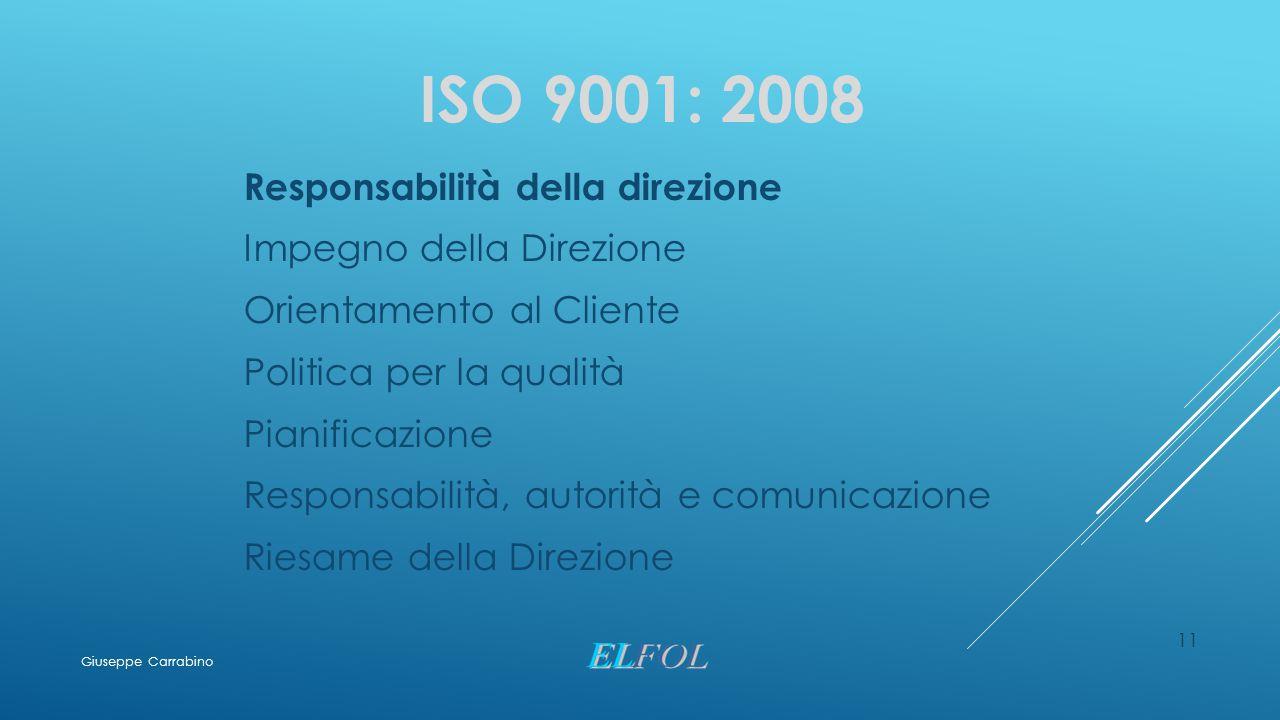11 ISO 9001: 2008 Responsabilità della direzione Impegno della Direzione Orientamento al Cliente Politica per la qualità Pianificazione Responsabilità