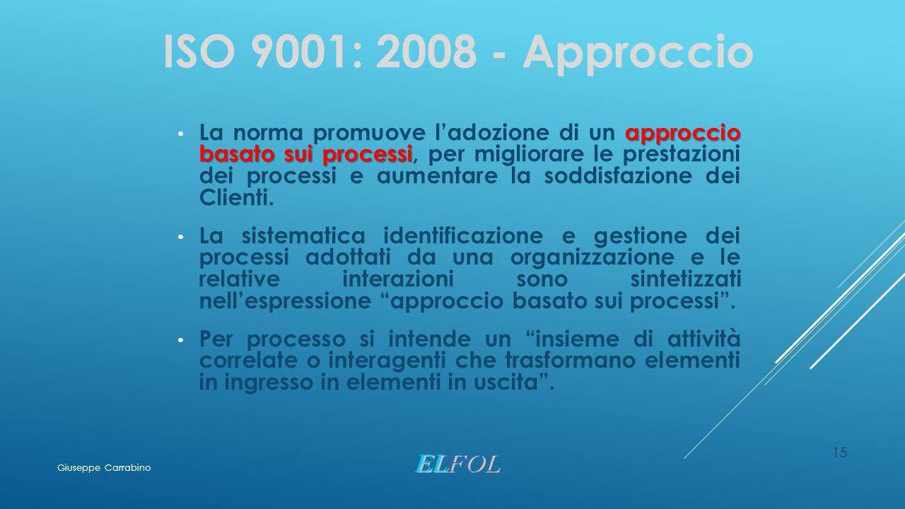 15 ISO 9001: 2008 - Approccio approccio basato sui processi La norma promuove l'adozione di un approccio basato sui processi, per migliorare le presta
