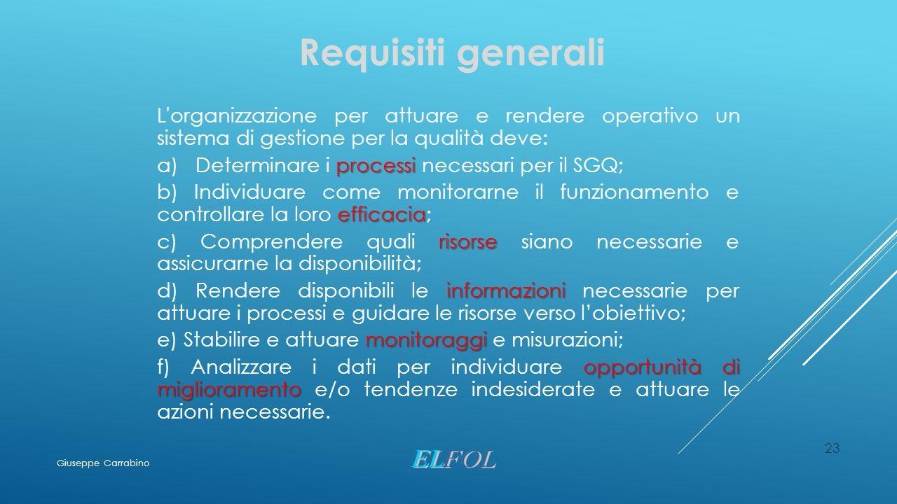 23 Requisiti generali L'organizzazione per attuare e rendere operativo un sistema di gestione per la qualità deve: processi a) Determinare i processi