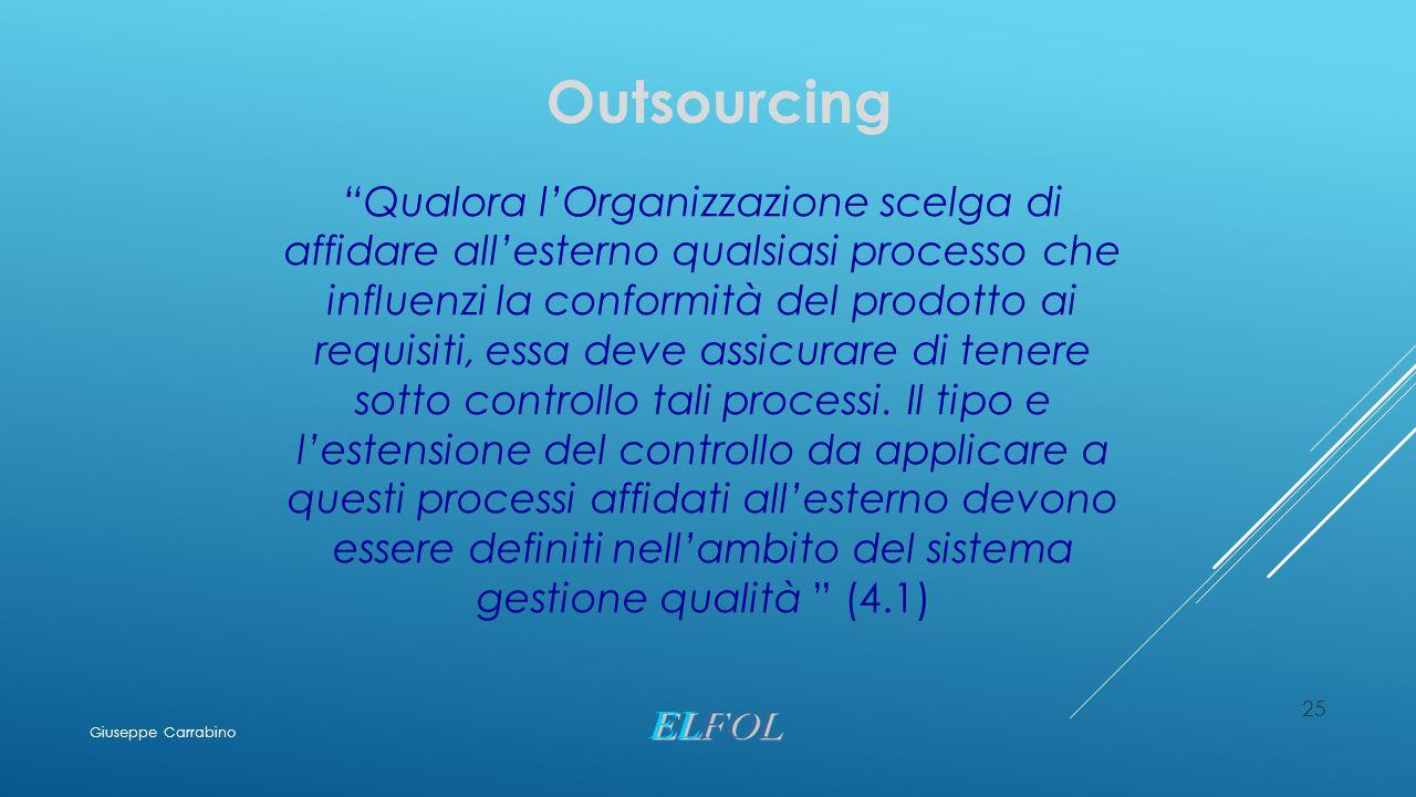 """25 Outsourcing """"Qualora l'Organizzazione scelga di affidare all'esterno qualsiasi processo che influenzi la conformità del prodotto ai requisiti, essa"""