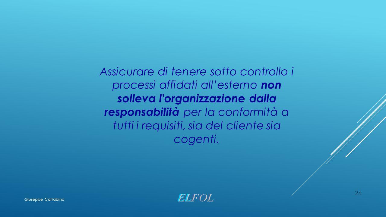 26 Assicurare di tenere sotto controllo i processi affidati all'esterno non solleva l'organizzazione dalla responsabilità per la conformità a tutti i