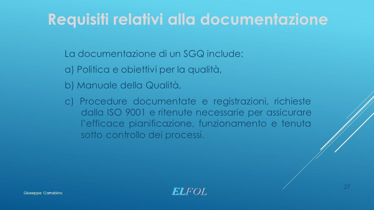 27 Requisiti relativi alla documentazione La documentazione di un SGQ include: a) Politica e obiettivi per la qualità, b) Manuale della Qualità, c) Pr