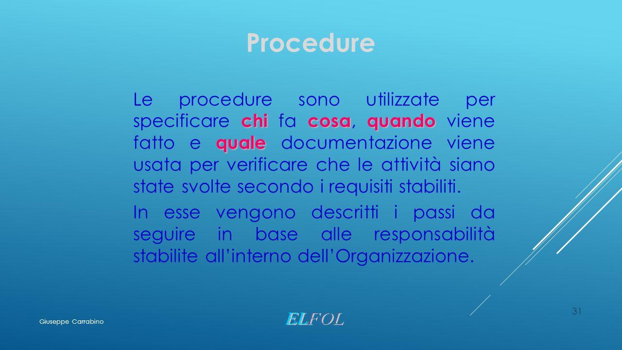 31 Procedure chicosaquando quale Le procedure sono utilizzate per specificare chi fa cosa, quando viene fatto e quale documentazione viene usata per v