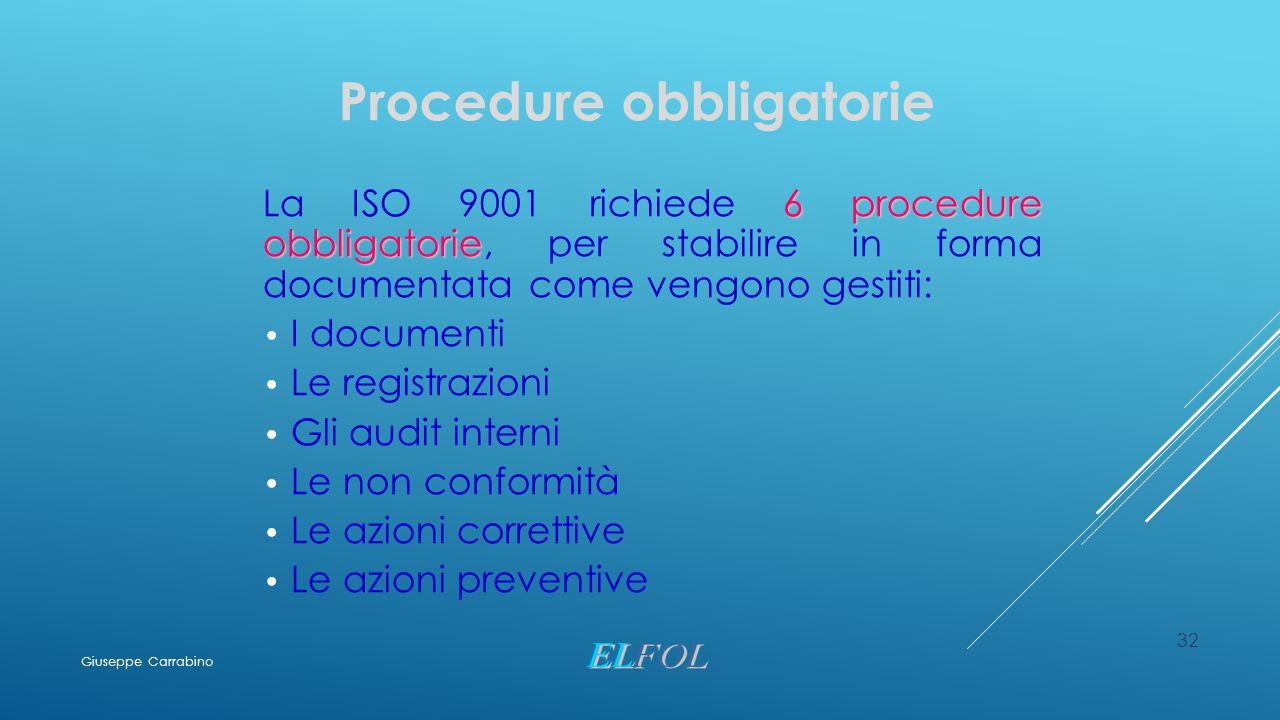 32 Procedure obbligatorie 6 procedure obbligatorie La ISO 9001 richiede 6 procedure obbligatorie, per stabilire in forma documentata come vengono gest