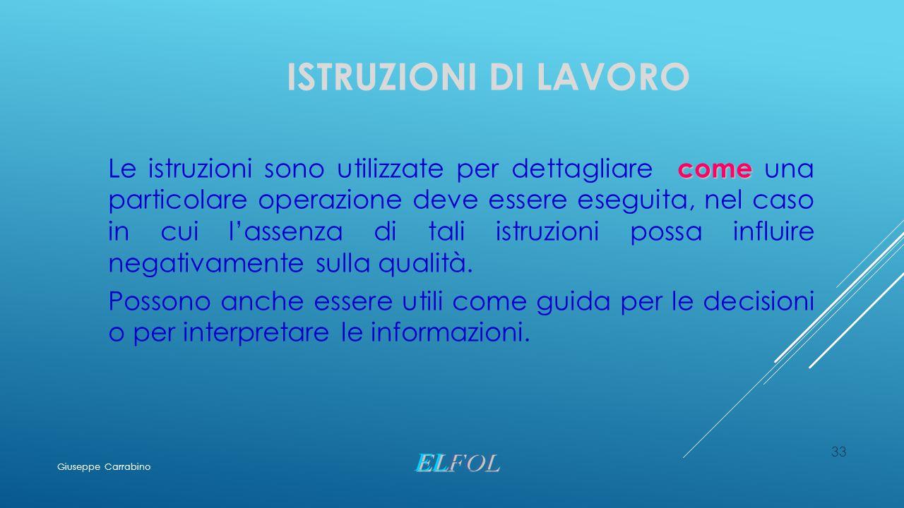 ISTRUZIONI DI LAVORO come Le istruzioni sono utilizzate per dettagliare come una particolare operazione deve essere eseguita, nel caso in cui l'assenz