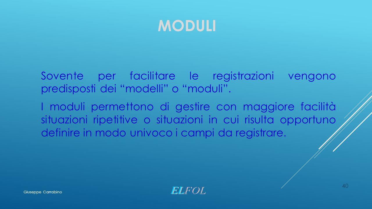 """MODULI Sovente per facilitare le registrazioni vengono predisposti dei """"modelli"""" o """"moduli"""". I moduli permettono di gestire con maggiore facilità situ"""