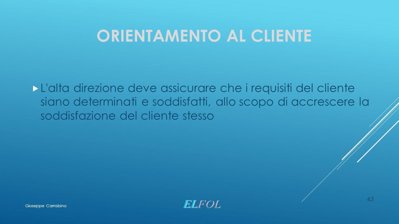 ORIENTAMENTO AL CLIENTE  L'alta direzione deve assicurare che i requisiti del cliente siano determinati e soddisfatti, allo scopo di accrescere la so
