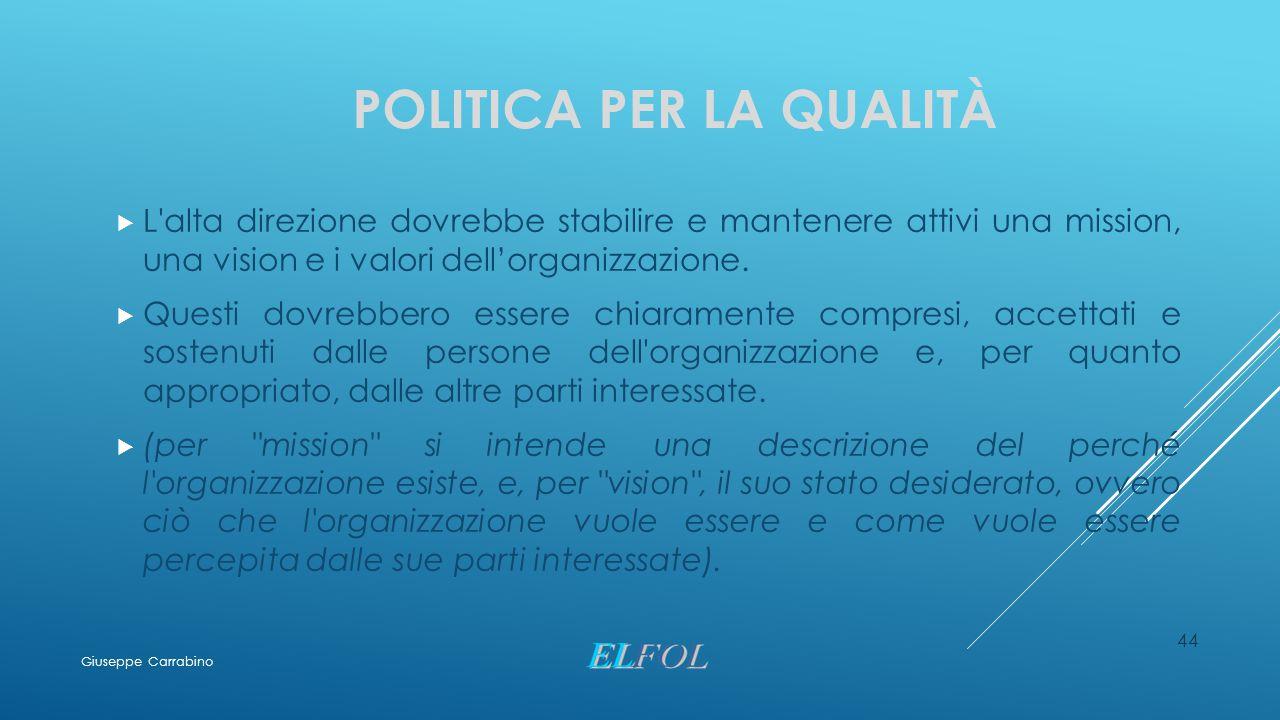POLITICA PER LA QUALITÀ  L'alta direzione dovrebbe stabilire e mantenere attivi una mission, una vision e i valori dell'organizzazione.  Questi dovr