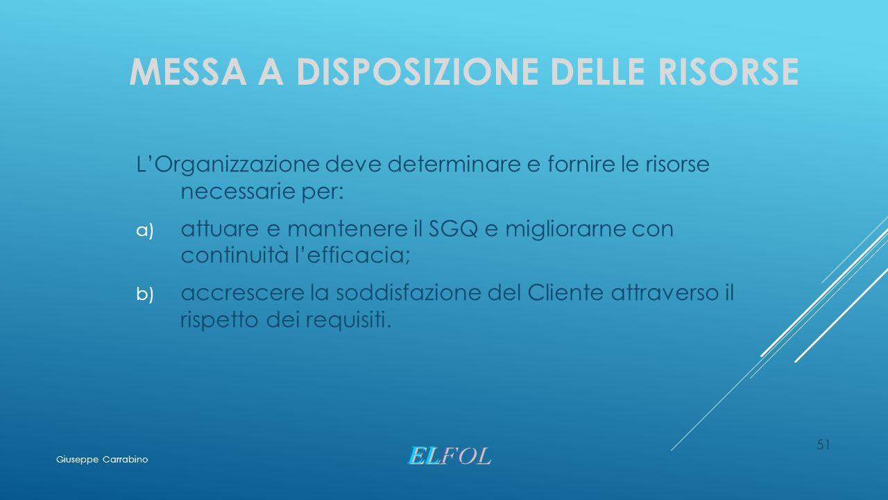 MESSA A DISPOSIZIONE DELLE RISORSE L'Organizzazione deve determinare e fornire le risorse necessarie per: a) attuare e mantenere il SGQ e migliorarne