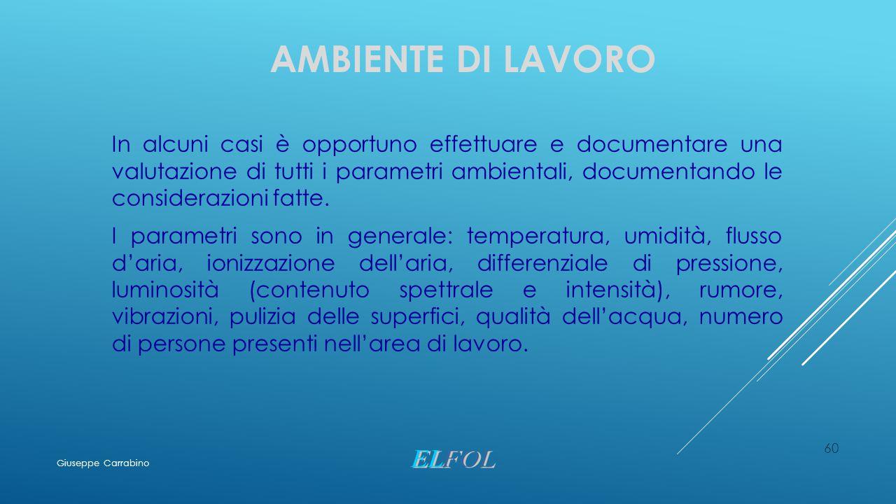 AMBIENTE DI LAVORO In alcuni casi è opportuno effettuare e documentare una valutazione di tutti i parametri ambientali, documentando le considerazioni
