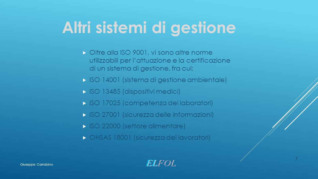 7 Altri sistemi di gestione  Oltre alla ISO 9001, vi sono altre norme utilizzabili per l'attuazione e la certificazione di un sistema di gestione, fr