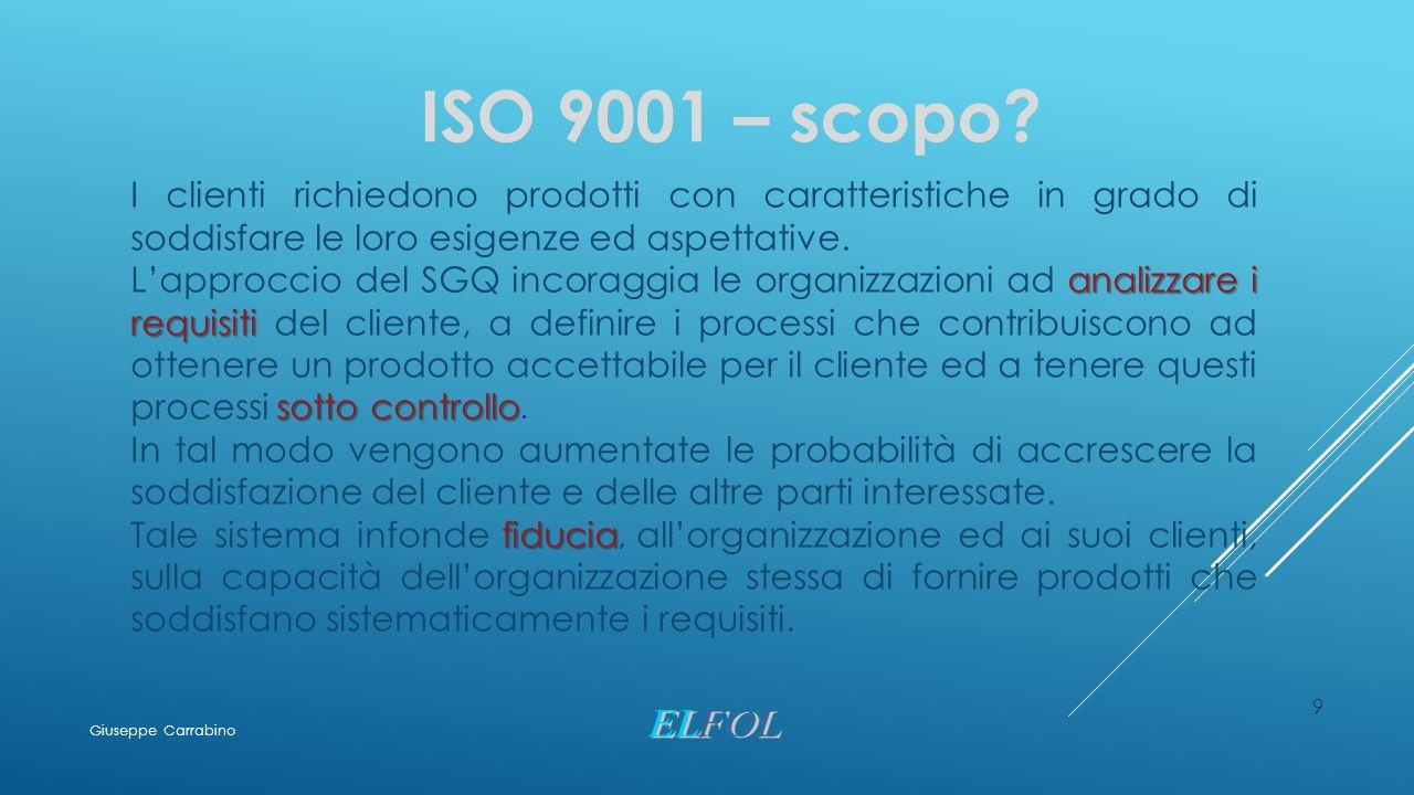 9 ISO 9001 – scopo? I clienti richiedono prodotti con caratteristiche in grado di soddisfare le loro esigenze ed aspettative. analizzare i requisiti s