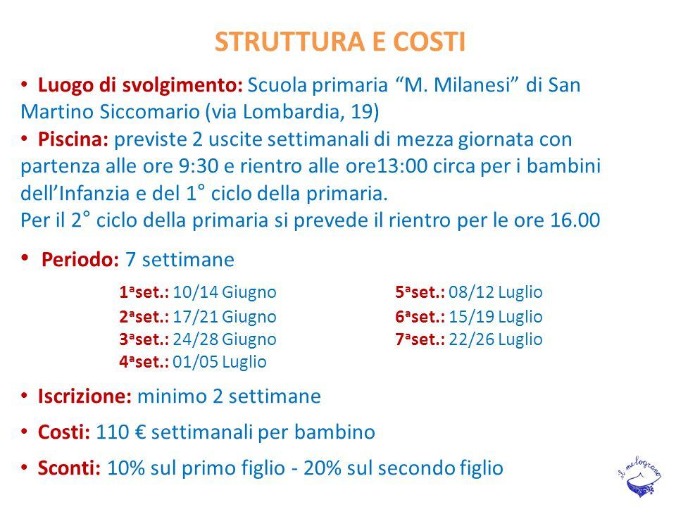 """Luogo di svolgimento: Scuola primaria """"M. Milanesi"""" di San Martino Siccomario (via Lombardia, 19) Piscina: previste 2 uscite settimanali di mezza gior"""